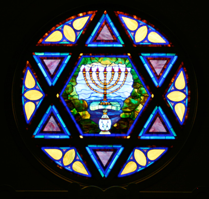 10' diameter stained glass reproduction for 6th and I Historic Synagogue.