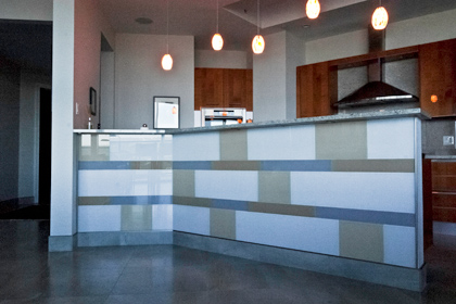 Back painted glass tile as architectural elements for Back painted glass tile