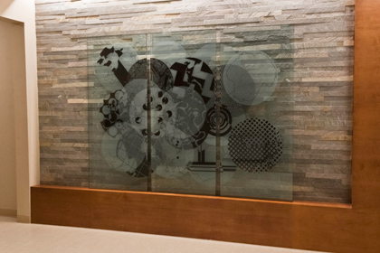 "Classic Glass recreated ""Overlap"" on glass panels"