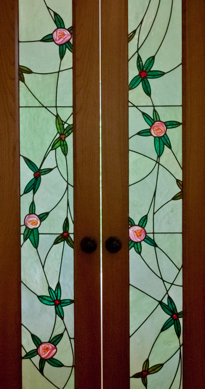 Detail of stained glass art door-lights